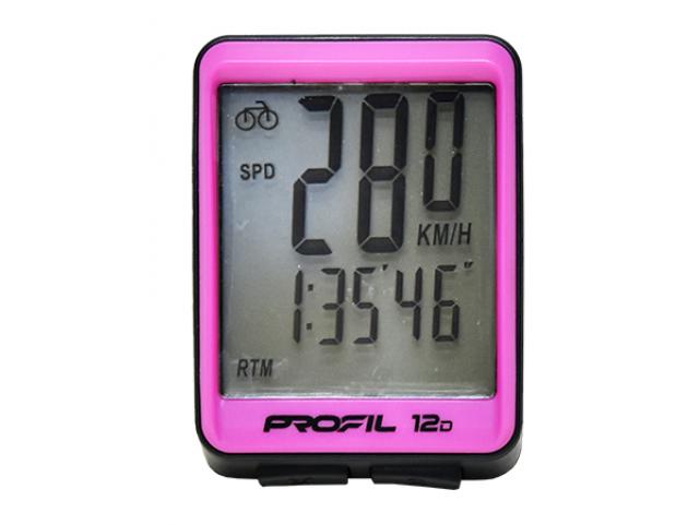 Cyklocomputer PROFIL 12D drátový, černo-růžový