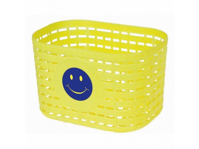 Košík přední dětský plastový žlutý motiv se smajlíkem