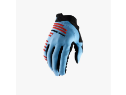 Rukavice 100% R-Core Light Blue/Fluo Red