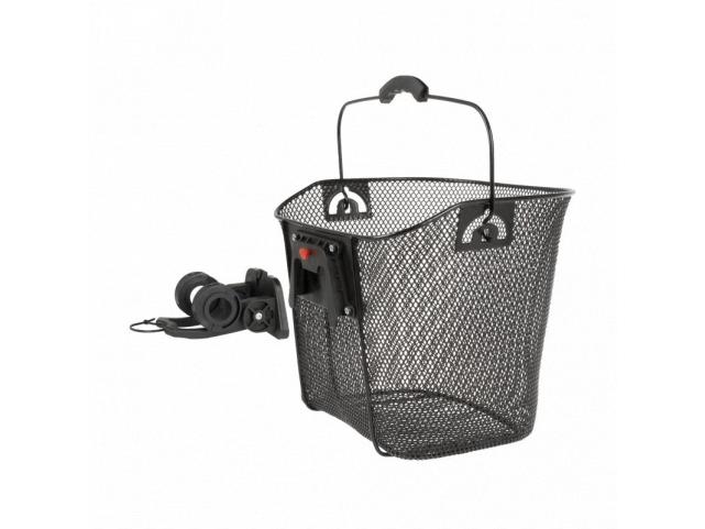 Košík přední ocelový na řidítka a představec černý