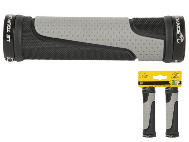 Gripy Tour De France 2 složkové gelové se zámkem 130mm černá šedá