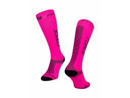 Ponožky FORCE ATHLETIC PRO KOMPRES, růžovo-černé
