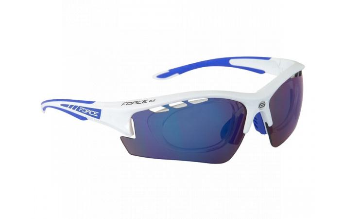 Brýle Force RIDE PRO White diop.klip,modrá laser skla