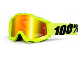 Brýle 100% ACCURI Fluo Yellow červená zrcadlová skla + čirá skla
